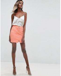 Textured Mini Skirt With Circle Trim And Zip