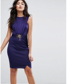 Belted Pencil Dress With Split Detail