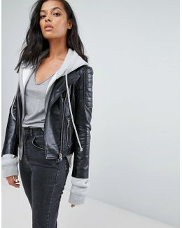 Barneys Leather Biker Jacket