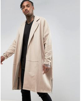 Extreme Oversized Extreme Longline Jersey Duster Jacket With Side Zips