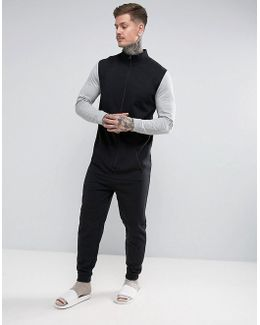 Track Neck Onesie With Contrast Sleeves