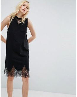 Sleeveless T-shirt Dress With Lace Inserts