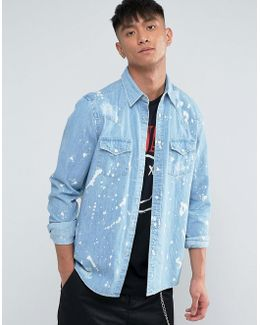 Regular Fit Distressed Western Denim Shirt With Paint Splatter