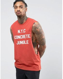 Sleeveless T-shirt With Extreme Dropped Armhole And New York Print