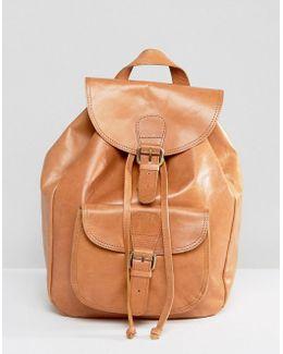 Leather Front Pocket Backpack