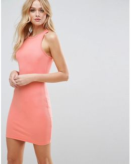 Mini Bodycon Ribbed Vest Dress With Racer Back