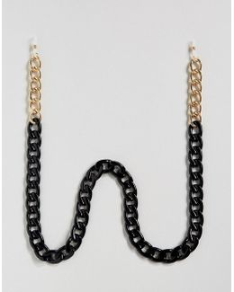 Oversized Sunglasses Chain In Black And Gold