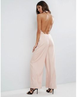 Occasion Tux Plunge Jumpsuit With Open Back