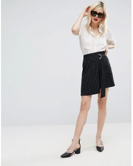 Cut About Stripe Skirt With Wrap Front
