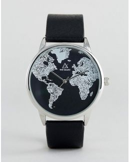 Monochrome Watch With Map Print Design