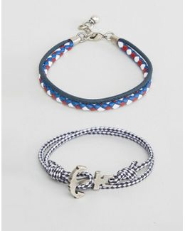 Nautical Bracelet Set In Navy