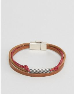 Bracelet In Brown And Red With Burnished Clasp