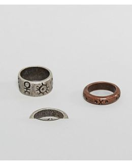 Ring Pack In Mixed Metals And Geo- Emboss