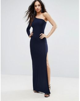 One Shoulder Maxi Dress With Thigh Split