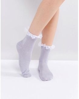Pearl And Organza Trim Ankle Socks