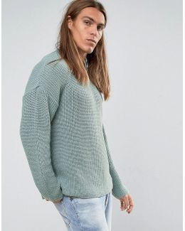 Slouchy Sweater In Pastel Blue