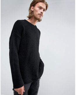 Slouchy Knitted Jumper In Black