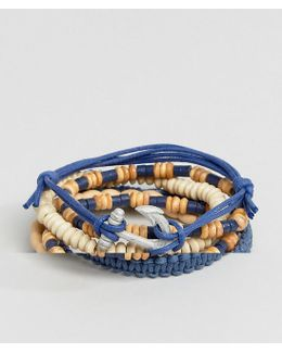 Leather And Beaded Bracelet Pack In Blue