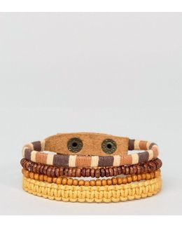 Leather And Beaded Bracelet Pack In Orange