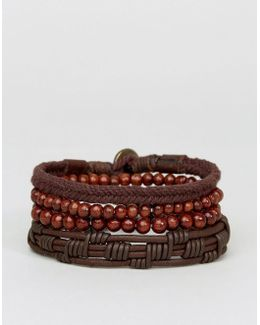 Leather And Beaded Bracelet Pack In Chocolate