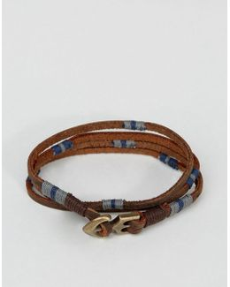 Double Wrap Leather Bracelet With Anchor