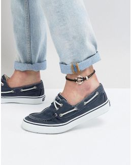 Leather Anklet In Black With Anchor