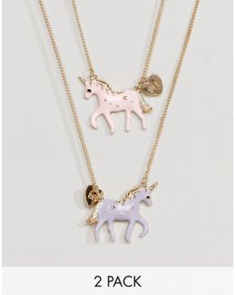 Pack Of 2 Unicorn Necklaces