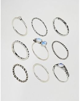 Pack Of 9 Moon Stone Twist Rings
