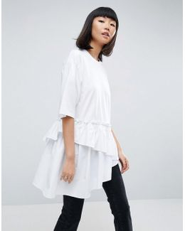 T-shirt With Contrast Layered Frill Hem