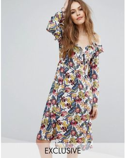 Floral Print Exposed Shoulder Ruffle Dress