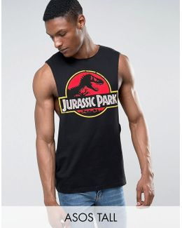 Tall Jurassic Park Sleeveless T-shirt With Extreme Dropped Armhole
