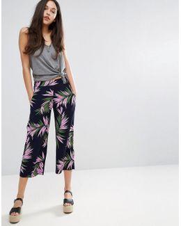 Palm Print Cropped Pants