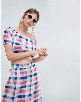 Gingham Off Shoulder Crop Top Co-ord