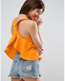 Tank With Ruffle Open Back