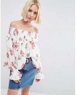 Off Shoulder Top With Shirring In White Floral