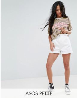 Denim Shorts With Paper Bag Waist In White