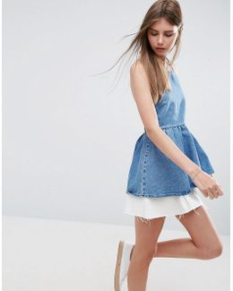 Denim Square Neck Top With Frill Hem In Midwash Blue