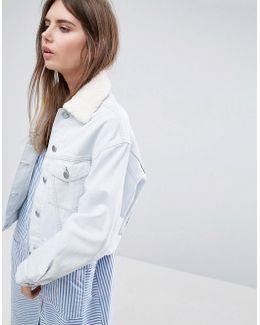 Denim Jacket With Detachable Fleece Collar In Bleach Wash