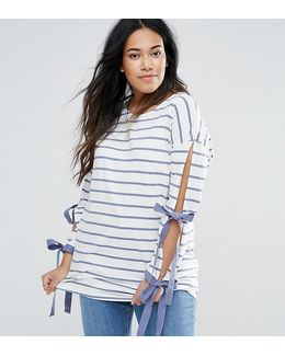 Top With Tie Sleeves In Stripe