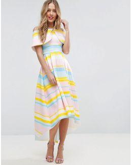 Bright Stripe Deep Fold Debutante Dress