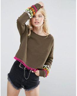 Off Shoulder Cropped Pom Pom Sweatshirt