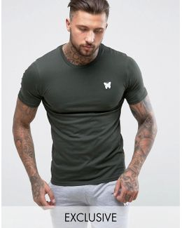 Muscle T-shirt In Khaki With Chest Logo