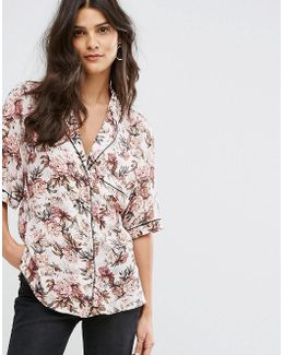 Floral Print Piped Pajama Blouse