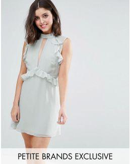 Ruffle Shoulder Mini Skater Dress
