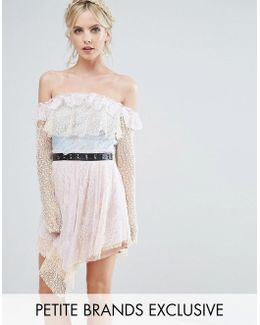 Allover Premium Lace Off Shoulder Tiered Mini Dress With Metal Belt