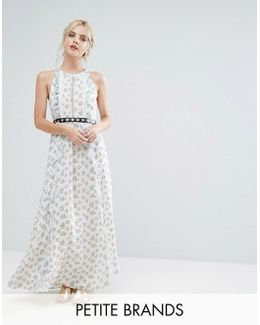 Allover Floral Maxi Dress With Metal Belt Detail In Ditsy Floral Print