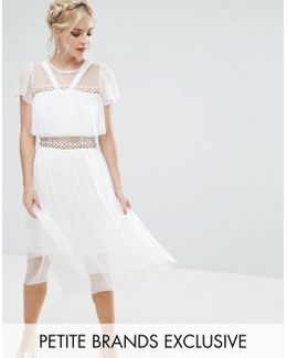 Tulle Ruffle Midi Dress With Metal Ring Detail