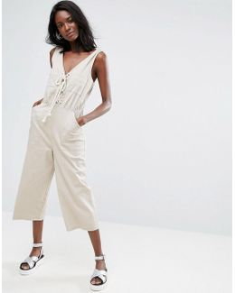 Jumpsuit In Cotton With Lace Up Front