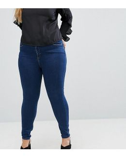 Ridley High Waist Skinny Jeans In Popular Deep Blue Wash