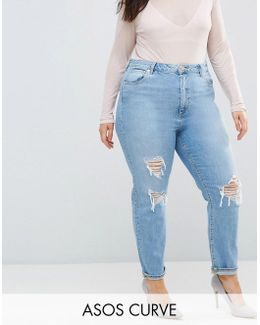 Farleigh High Waist Slim Mom Jeans In Miracle Light Wash With Rips